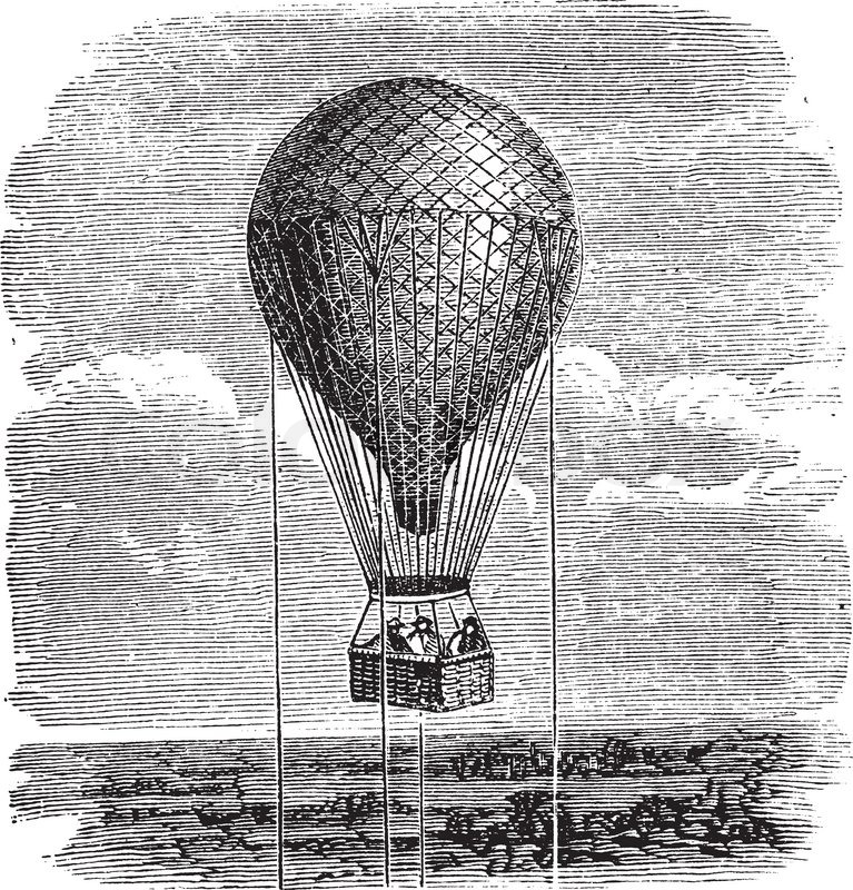 old-aerostat-or-hot-air-balloon-vintage-illustration